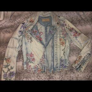 Blank NYC floral denim jacket